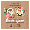 Wedding invitation card with cute groom and bride cartoon Royalty Free Stock Photo