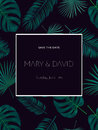 Wedding invitation or card design with exotic tropical palm leav