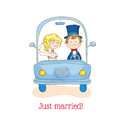Wedding invitation card just married car theme in vector Royalty Free Stock Photography