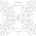 Wedding Invitation card with lace ornament Royalty Free Stock Photo