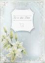 Wedding invitation card lilyes on grunge background vector ilustration Stock Photos