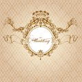 Wedding invitation card in luxury vintage style vector design classic royal Royalty Free Stock Image