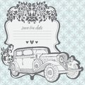 Wedding Invitation Card with retro car Royalty Free Stock Photos