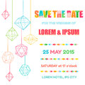 Wedding invitation card save the date with colorful geometric design in vector Stock Images