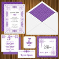 Wedding Invitation Card Set Royalty Free Stock Photography
