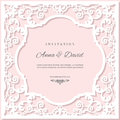 Wedding invitation card template with laser cutting frame. Pastel pink and white colors. Royalty Free Stock Photo