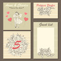Wedding invitation cards with a hand-drawn floral pattern and a cute illustration of a couple in cartoon style.