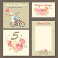 Wedding invitation cards and labels with a floral pattern and illustration of a couple on a bicycle. Royalty Free Stock Photo