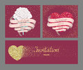 Wedding invitation cards with long ribbon and gold textured hearts Royalty Free Stock Photo