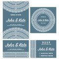 Wedding invitation cards template with lace decoration. Vector.
