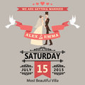 Wedding invitation with cartoon bride and groom retro style the to the in vignettes ribbon pigeons a design template the Stock Photos