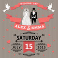 Wedding invitation with cartoon dress of bride and groom the in retro style vignettes ribbon pigeons a design template in Stock Image