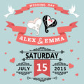 Wedding invitation with cartoon hearts retro the heart stylized for the bride and groom in style vignettes ribbon pigeons a design Stock Photography