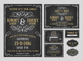 Wedding invitation chalkboard design with flourishes line include card save the date rsvp card thank you card table Royalty Free Stock Photography