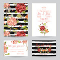 Wedding Invitation or Congratulation Card Set - Flower Pansy