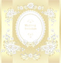 Wedding invitation or congratulation in gold color Stock Photos