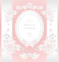 Wedding invitation or congratulation with pearls f flowers in pink color Royalty Free Stock Photos