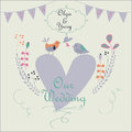 Wedding invitation cute with flowers birds hearts flags and calligraphy elements Stock Photos