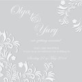 Wedding invitation delicate invitatioin with white flowers on grey background Stock Images