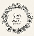 Wedding invitation design template with Save the date text and frame of vintage botanical flowers.