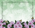 Wedding Invitation Floral border Lavender Roses Royalty Free Stock Photo