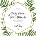 Wedding Invitation, floral invite card Design with green tropical forest palm tree leaves, forest fern greenery simple, geometric