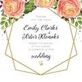 Wedding Invitation, floral invite card Design with pink peach ro