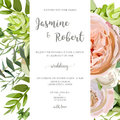 Wedding invitation, floral invite card with pink garden rose, gr