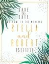 Wedding Invitation, floral invite thank you, rsvp modern card Design: green tropical palm leaf greenery branches decorative wreath