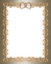 Wedding invitation gold  border hearts Royalty Free Stock Photo