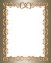Wedding invitation gold  border hearts Royalty Free Stock Photo
