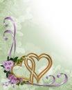 Wedding invitation gold hearts Royalty Free Stock Photo