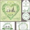 Wedding invitation.Green branches heart, bride,groom,retro bicyc