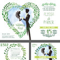 Wedding invitation.Green branches heart ,bride,groom,sky