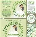 Wedding invitation.Green branches wreath, kissing bride,groom