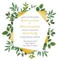 Wedding invitation with Greenery