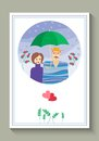 Wedding invitation or greeting card with cute loving couple under umbrella. Royalty Free Stock Photo