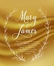 Wedding Invitation with Hand drawn laurel wreaths on gold background. Vintage design