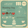 Wedding invitation infographics card in retro style vintage design square format illustration Stock Photo