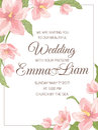 Wedding invitation magnolia sakura corner frame