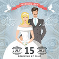 Wedding invitation with paisley lace.Retro couple bride and groo