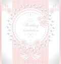 Wedding invitation with pearls flowers in pink col or congratulation color Royalty Free Stock Photography