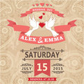 Wedding invitation with pigeon couple and paisley lace