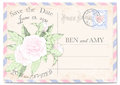 Wedding invitation postcard with a peonies colourful frame a postage stamp stamp scratches and stains vector illustration Royalty Free Stock Images