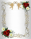 Wedding invitation Red Roses Border on satin Royalty Free Stock Photo