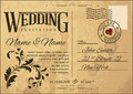 Wedding invitation retro vintage on old postcard Stock Images