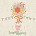 Wedding invitation romantic with cute bouquet flags bow ribbon and heart in cartoon style Royalty Free Stock Image