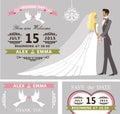 Wedding invitation set. Cartoon bride and groom