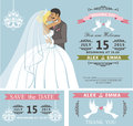 Wedding invitation set.Kissing Cartoon bride and groom.Retro