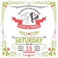 Wedding invitation with stylized heart and floral frame Royalty Free Stock Photo